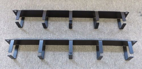 "2 x 1U 19"" Black Vertical 5 Rings / Hoops Cable Tidy Bar For Server Cabinet"